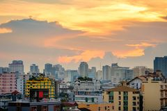 Bangkok cityscape at dusk with cloud, Thailand Stock Photography