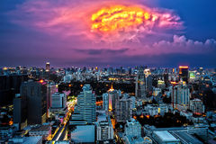 Bangkok Cityscape at dusk, Twilight with Thunderbolt Stock Photo