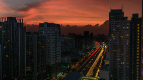 Bangkok cityscape with flame-coloured sky, Thailand Stock Photography