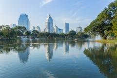 Bangkok Cityscape from Lumpini Park Royalty Free Stock Image