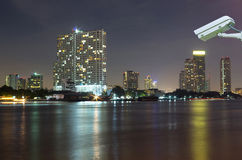 Bangkok cityscape Modern building river side on twilight time,Th Royalty Free Stock Photo