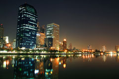 Bangkok cityscape of modern buildings with skyline reflection Royalty Free Stock Photography
