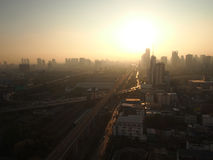 Bangkok Cityscape in the Morning. The sun is rising, the car is moving, So its time to working Stock Photo