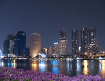 Bangkok cityscape night scene royalty free stock photo