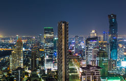 Bangkok cityscape night view of business district. Night cityscape of Bangkok metropolitan area Stock Photography