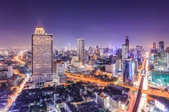 Bangkok Cityscape. At night, view from high building Royalty Free Stock Photography