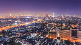 Bangkok Cityscape. At night, view from high building Stock Image