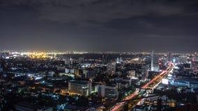 Bangkok cityscape på natten Fotografering för Bildbyråer