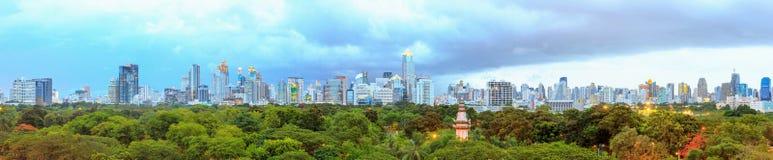 Bangkok Cityscape Panorama and Lumpini Park Royalty Free Stock Photography