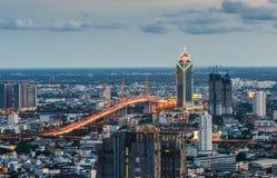 Bangkok cityscape with  Rama IX Bridge. At twilight Royalty Free Stock Images