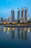 Bangkok cityscape reflect with lake Royalty Free Stock Images