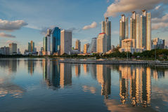 Bangkok cityscape and reflection Royalty Free Stock Photo