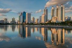 Bangkok cityscape and reflection Royalty Free Stock Photo
