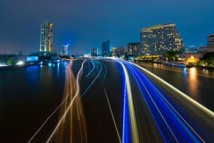 Bangkok cityscape with river at night Stock Images