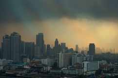 Bangkok cityscape river view with sun light after raining Stock Photography