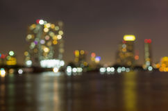 Bangkok cityscape river view at twilight time, Blurred Photo bok Royalty Free Stock Photos