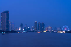 Bangkok cityscape rivew view at twilight time, Blurred Photo Royalty Free Stock Image