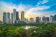 Bangkok Cityscape at Sunset, Park in the City Stock Images