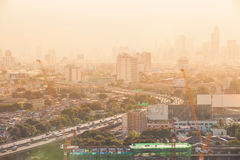 Bangkok cityscape sunset and sky view, Thailand Royalty Free Stock Photos