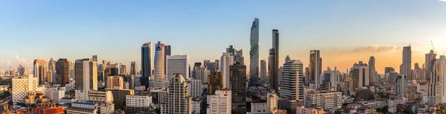 Bangkok cityscape in sunset time, Thailand Royalty Free Stock Image