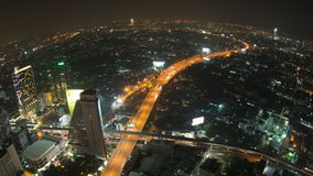 Bangkok Cityscape Time Lapse Fisheye Pan stock video