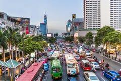Bangkok cityscape and traffic in sunset Stock Image