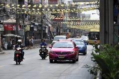 Bangkok cityscape - trafik Fotografering för Bildbyråer