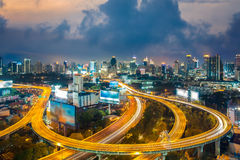 Bangkok Cityscape at twilight, Bangkok Expressway. (Thailand Royalty Free Stock Photos