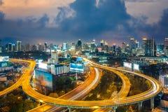 Bangkok Cityscape at twilight, Bangkok Expressway Royalty Free Stock Photos