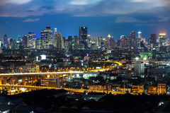 Bangkok Cityscape at twilight, Impression of City's Light. (Thailand Royalty Free Stock Image