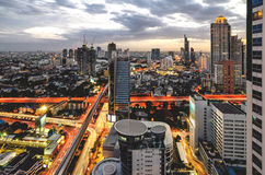 Bangkok Cityscape at twilight with main traffic Royalty Free Stock Photo