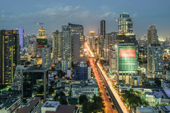 Bangkok Cityscape at twilight with main traffic Stock Photography