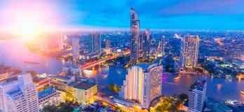 Bangkok cityscape twilight night sunset light wide panorama. For web banner background stock image