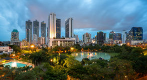 Bangkok Cityscape at twilight, Park in the City. (Thailand Royalty Free Stock Photography