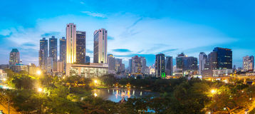 Bangkok Cityscape at twilight, Park in the City Stock Image