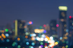 Bangkok cityscape at twilight time, Blurred Photo bokeh Royalty Free Stock Photo