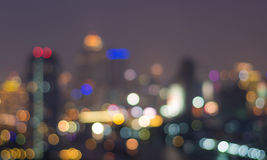 Bangkok cityscape at twilight time, Blurred Photo bokeh Royalty Free Stock Images