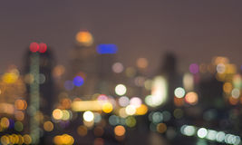 Bangkok cityscape at twilight time, Blurred Photo bokeh Stock Photography