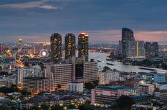 Bangkok cityscape at twilight time. And Chaophraya river Royalty Free Stock Photo