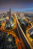 Bangkok Cityscape at twilight. The Trident of Bangkok (Thailand Royalty Free Stock Photo