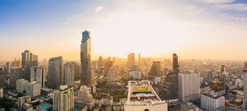 Bangkok Cityscape. View from high building on Srinakarin and Silom road in the evening Stock Photography