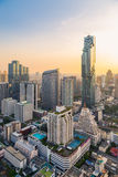 Bangkok Cityscape. View from high building on Srinakarin and Silom road in the evening Stock Photos