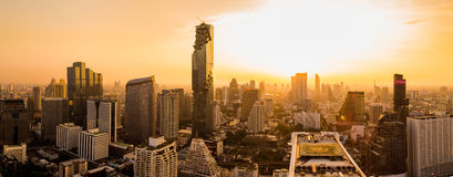Bangkok Cityscape. View from high building on Srinakarin and Silom road in the evening Royalty Free Stock Images
