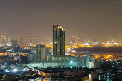 Bangkok cityscape which can see river view at twilight, thailand Royalty Free Stock Photography