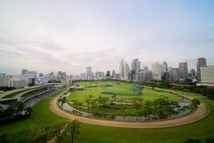 Bangkok cityscapebakgrund fotografering för bildbyråer