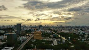 Bangkok with cloud sky, veiw of road and canel in the evening time from outside Royalty Free Stock Photography