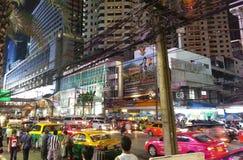 Bangkok colors at night. View of a busy street in Bangkok at night Royalty Free Stock Photo