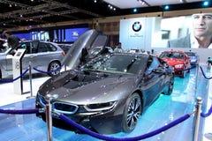 Bangkok - 2 de abril: Coche de la innovación de la serie I8 de BMW Imágenes de archivo libres de regalías