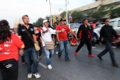 BANGKOK - 10 DE DICIEMBRE: Demostración roja de la protesta de las camisas - Tailandia Fotos de archivo