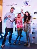 BANGKOK - 19 DE FEBRERO DE 2014: Dandee (vocalista de la ventaja con el proyecto E Fotografía de archivo